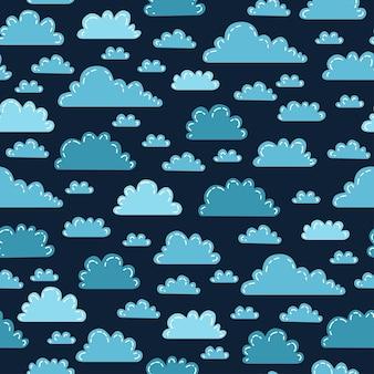 Lunas nubes arco iris y estrellas lindo patrón sin costuras, ilustración vectorial de dibujos animados, fondo de guardería para niños