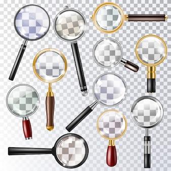 Lupa de aumento de vector de zoom o buscar y ampliar la lente de investigación
