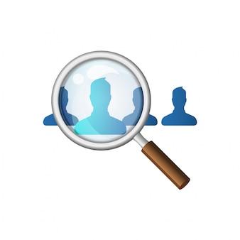 Lupa buscando empleados de dibujos animados. ilustración de contratación de personal en estilo. headhunting y recursos humanos