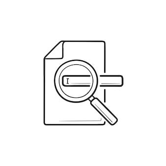 Lupa y documento con icono de doodle de contorno dibujado de mano de barra de búsqueda. motor de búsqueda, seo, concepto de optimización
