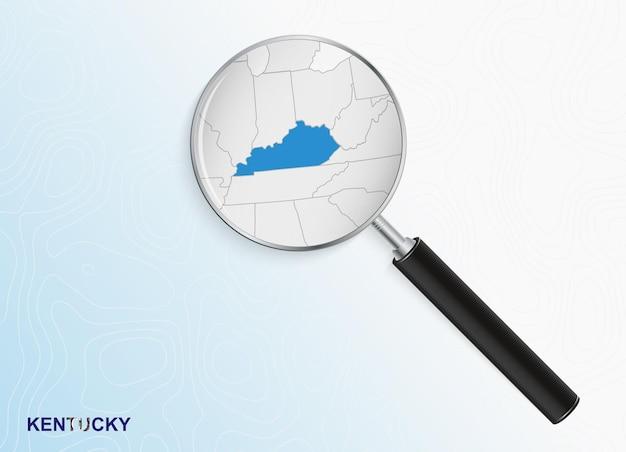 Lupa con mapa de kentucky sobre fondo topográfico abstracto.