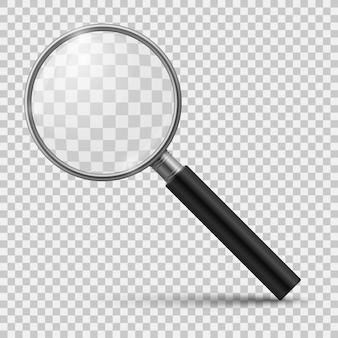 Lupa realista lupa de vidrio, zoom, herramientas, lupa, lente de escrutinio, microscopio óptico. 3d aislado realista
