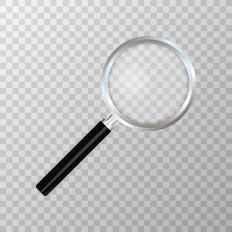 Lupa realista en transparente. símbolo de búsqueda e inspección. concepto de negocio sciene o útiles escolares.