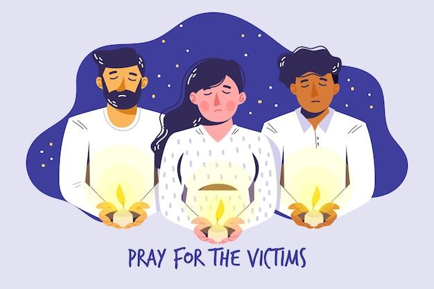 Luto por la ilustración de las víctimas