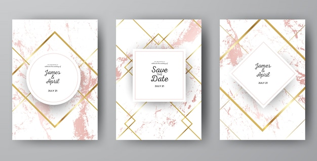 Luxury pink marble wedding invitation card templates