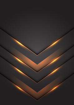 Luz amarilla 3d flecha dirección gris oscuro espacio en blanco de fondo.