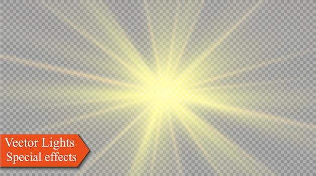 La luz amarilla brillante explota en un transparente