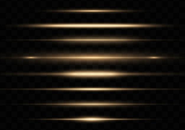 Luz amarilla brillante, paquete de destellos horizontales