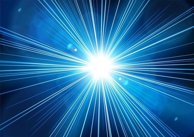 La luz azul brilla desde la oscuridad con un destello de lente realista