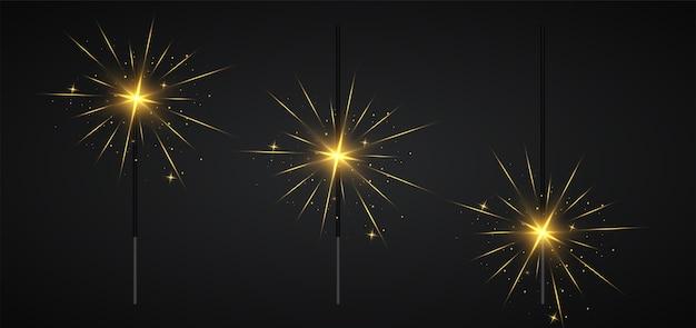 Luz de bengala navideña y diferentes etapas de quema de bengalas.