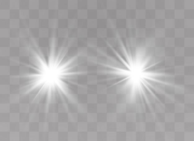 La luz blanca brillante explota. lucero. sol brillante transparente, destello brillante.