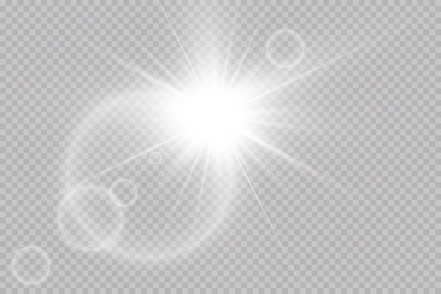 La luz blanca brillante explota con un rayo. sol brillante transparente, destello brillante. efecto de luz de destello de lente especial.