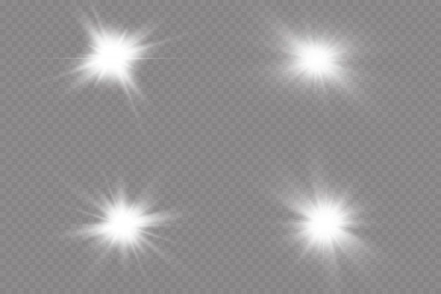 La luz blanca brillante explota. con rayo sol brillante transparente, destello brillante. efecto de luz especial de destello de lente.