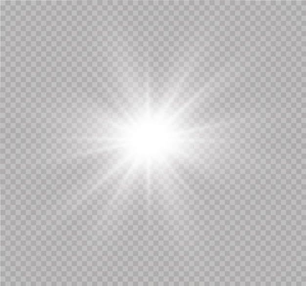 La luz blanca brillante explota sobre un fondo transparente. partículas de polvo mágico espumoso. lucero. sol brillante transparente, destello brillante. destellos. para centrar un flash brillante.