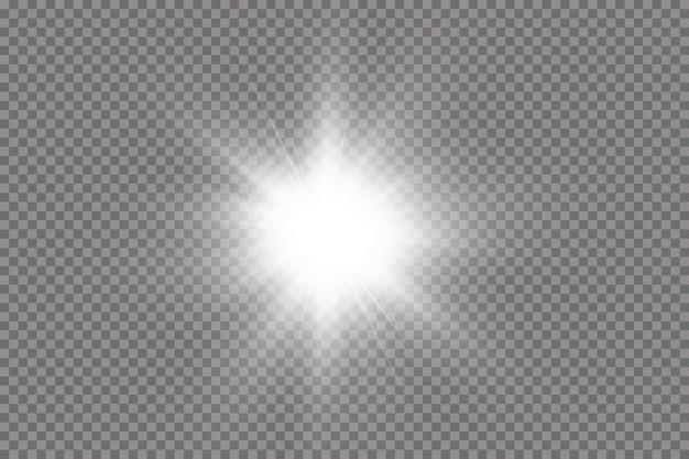 La luz blanca brillante explota sobre un fondo transparente. con rayo. sol brillante transparente, destello brillante. el centro de un destello brillante.