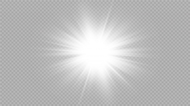 La luz blanca brillante explota sobre un fondo transparente. con rayo. sol brillante transparente, destello brillante. efecto de luz de destello de lente especial.