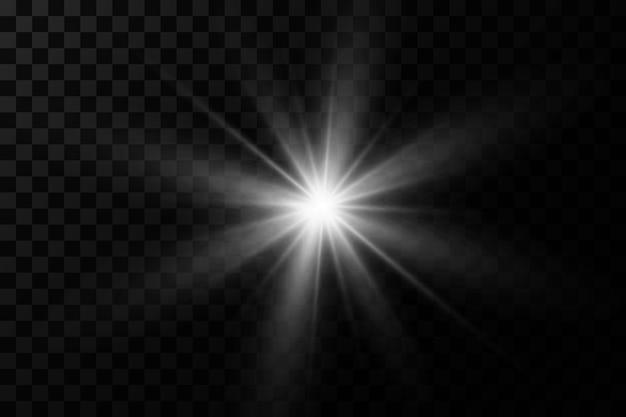 La luz blanca brillante explota sobre un fondo transparente