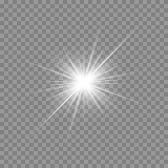 Luz blanca brillante. hermosa estrella luz de los rayos. sol con destello de lente. hermosa estrella brillante. luz de sol.