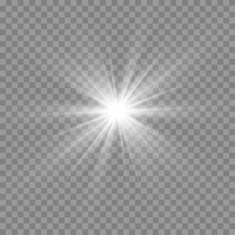Luz blanca brillante. hermosa estrella luz de los rayos. sol con destello de lente. hermosa estrella brillante.