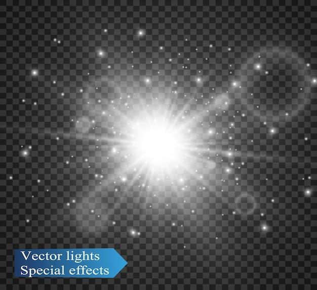 Luz blanca brillante. hermosa estrella luz de los rayos. un sol con reflejos.