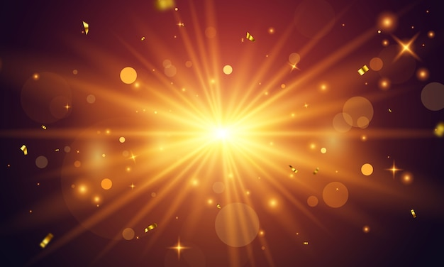 Luz brillante dorada abstracta. explosión de brillo dorado aislada sobre fondo transparente. celebración de confeti dorado