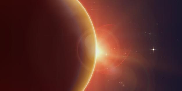 La luz brillante de la estrella brilla desde el borde de un planeta