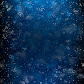 Luz caida desenfocada y copos de nieve.