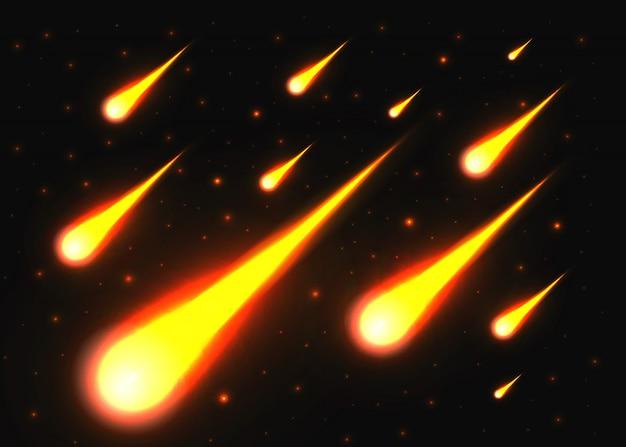 Luz de caída de un meteorito en la galaxia.
