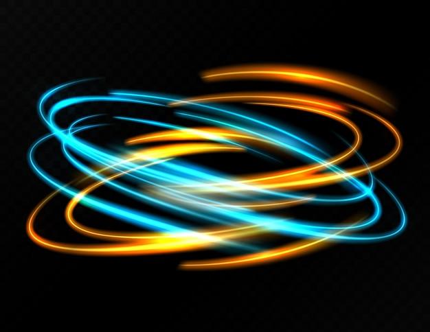 Luz circular dorada y azul con efecto de trazado.