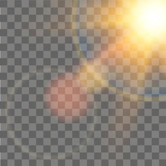 Luz de sol especial efecto de luz de bengala de lente sobre fondo transparente