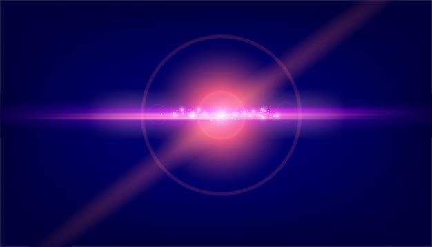 Luz de destello de lente sobre fondo negro