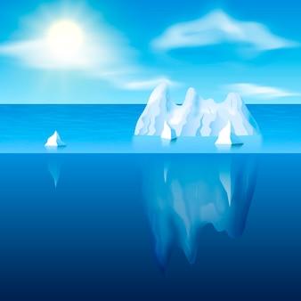 Luz del día con iceberg y sol