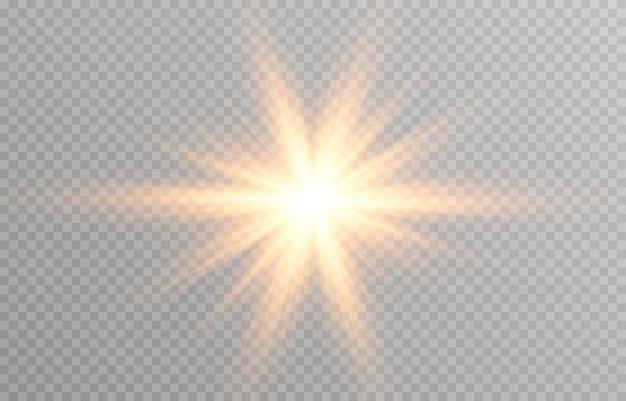 Luz dorada sobre fondo transparente