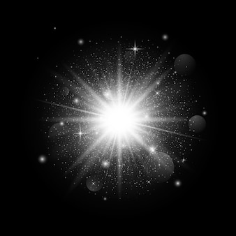 Luz de estrella de brillo luminoso sobre fondo oscuro. decoración navideña con partículas. espacio estrellado. ilustración