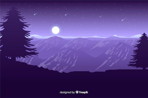 Luz de luna en montañas con estrellas fugaces