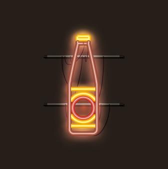 Luz de neón botella de cerveza