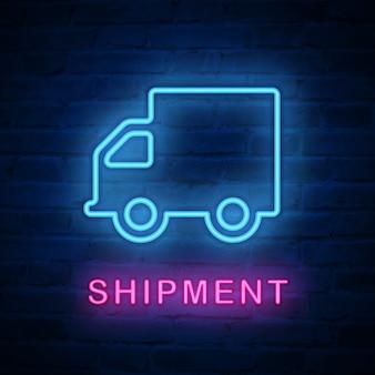 Luz de neón iluminada icono entrega envío coche