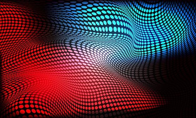 Luz de onda de malla de círculo azul rojo abstracto sobre fondo futurista de tecnología.