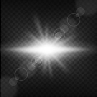 Luz que brilla en fondo transparente