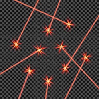 Luz de rayos láser rojo abstracto aleatorio aislada en negro transparente