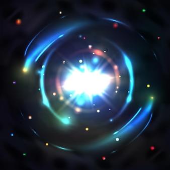 Luz de resplandor azul, vórtice de remolino de círculo, ilustración de efecto circular abstracto