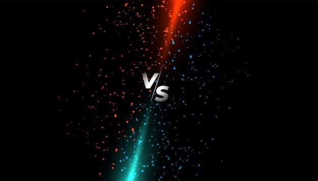 La luz roja y azul brilla contra la pantalla vs