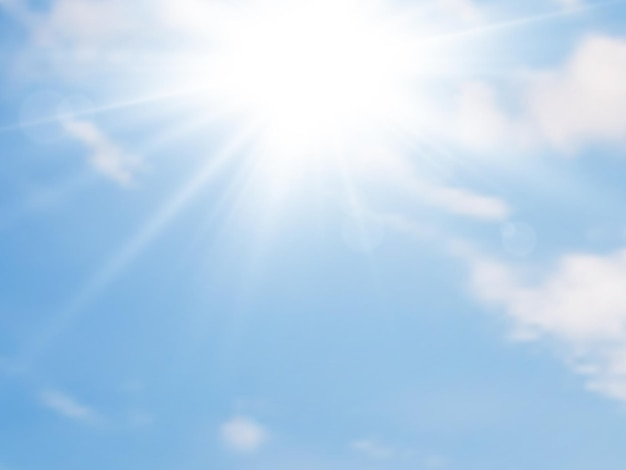 La luz del sol y el cielo azul con nubes. fondo de verano. ilustración vectorial