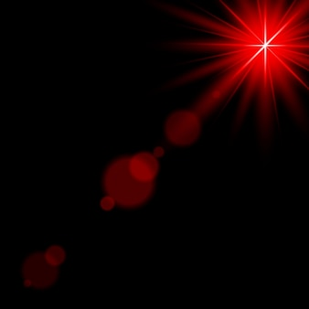 Luz del sol destello de lente reflector de efecto de luz roja iluminado ilustración vectorial