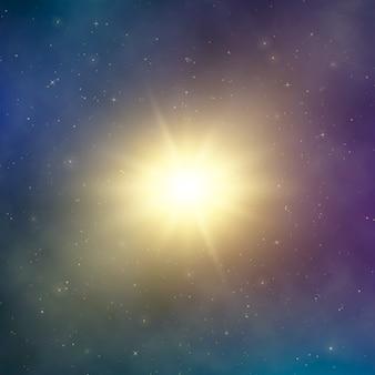 Luz del sol. estrella brillante abstracta en el espacio. fondo de fantasía astral oscura. ilustración