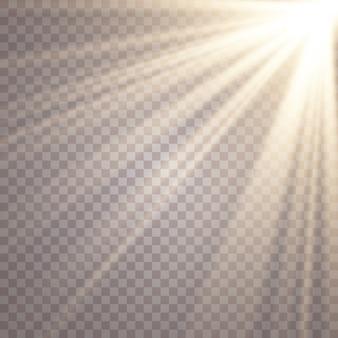 La luz del sol sobre un fondo transparente. efectos de luz brillante.