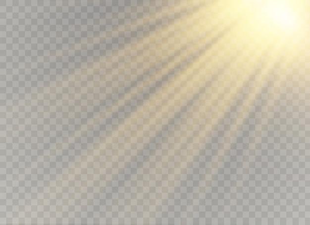 Luz solar horizontal, desenfoque a la luz del fondo radiante