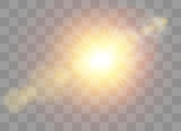 Luz solar transparente efecto de luz de flash de lente especial.