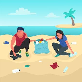 Luz del verano y gente limpiando la playa