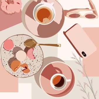 Macarons, café, teléfono y vasos sobre la mesa en colores rosas. ilustración de moda vectorial